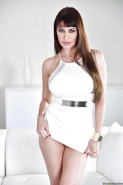 Chesty Euro MILF Eva Karera strips naked to masturbate pussy