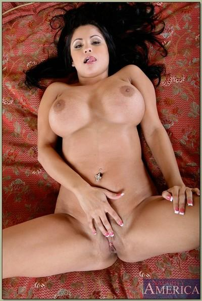 Big titted latina MILF Sophia Lomeli strips and fondles her beaver