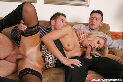 Glamorous milf Kristy Lust is banging hard with two big wieners
