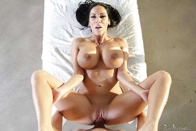 Brunette mom Veronica Rayne has her huge knockers oiled and massaged