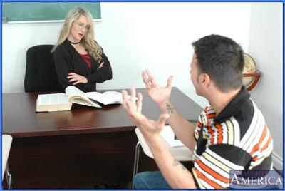 Sexy MILF teacher in glasses Lori Lust shafted on her table