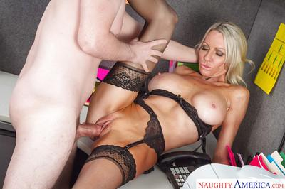 Tall blonde secretary Emma Starr gives head right after work