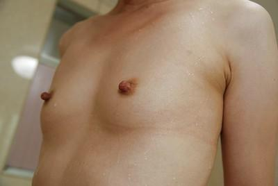 Skinny asian MILF Syoko Takaoka with tiny titties taking shower
