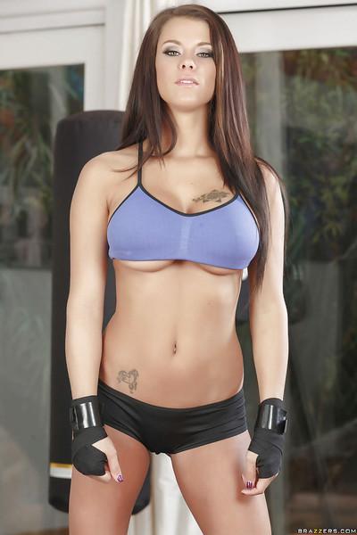 Amazing big tit babe Peta Jensen having fun while exercising