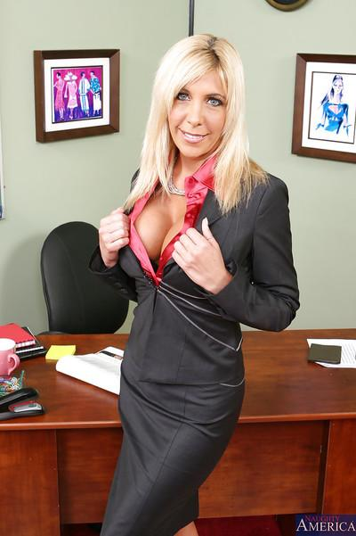 Pretty blonde teacher milf Misty taking off her clothes in office