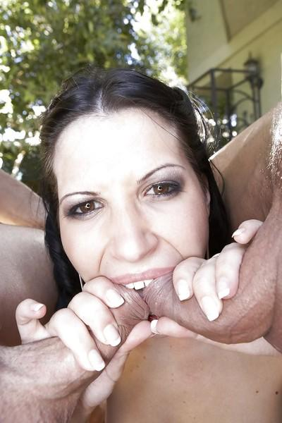 Latina mom Rebecca Linares taking hardcore double penetration outdoors