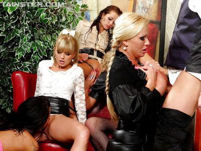 Voluptuous european lassies enjoy a wild sex orgy and pissing action