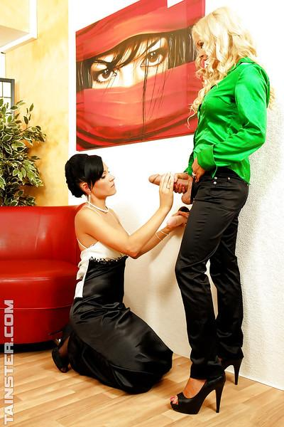 Hot lesbians Jenna Lovely & Ema Black are into messy strapon action