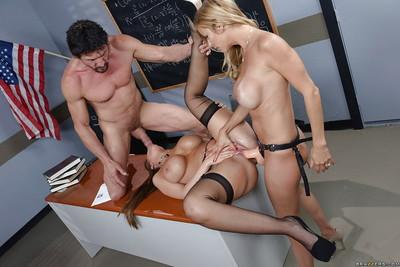 Curvy schoolgirls Alexis Fawx and Brooklyn Chase take cock and strapon cock