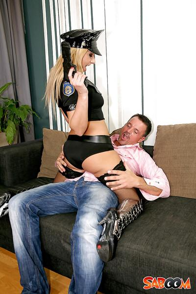 Ravishing police officer in stockings gets fucked for a cumshot in her mouth