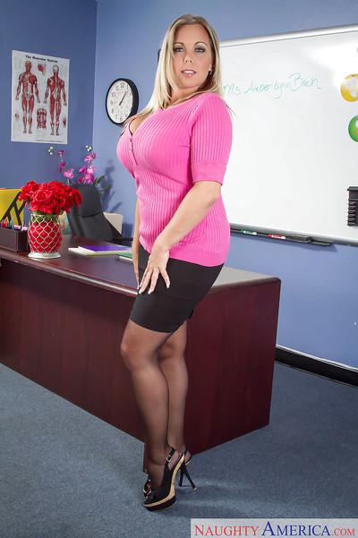 Amber Lynn Bach is a fatty busty Milf teacher in black stockings
