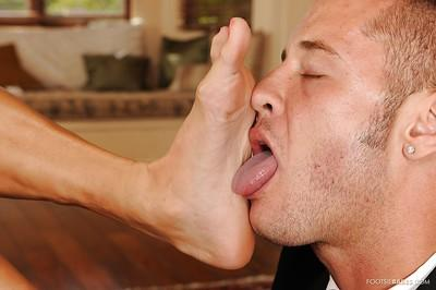 Nikita Von James gives a footjob and gets her pussy slammed hardcore