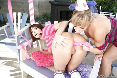 Steaming hot lesbians with hot butts are into passionate anal action