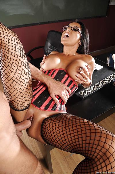 Latin MILF teacher Kiara Mia strips to stockings to get rammed hard