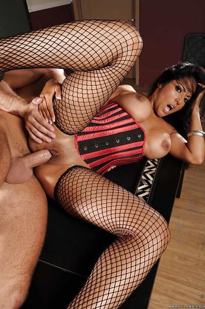 Latin MILF teacher Kiara Mia strips to stockings to get rammed hard
