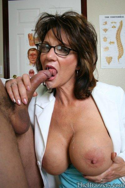 Busty MILF doctor Deauxma gets a hard boner for her cunt