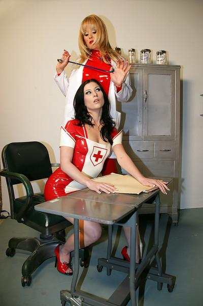Sexy babes in nurse uniform Aradia & Ariel X having some lesbian fun