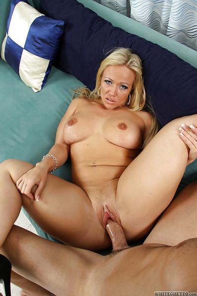 Lascivious blonde cougar sucks and fucks a stiff cock for pussy creampie