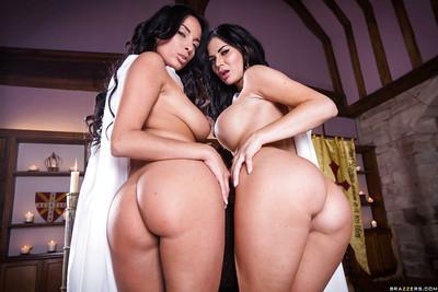 European lesbians Anissa Kate and Jasmine Jae rock big tits in boots
