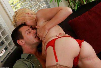 Lingerie clad blonde MILF Jillian Jacobs rub shaved cunt on man