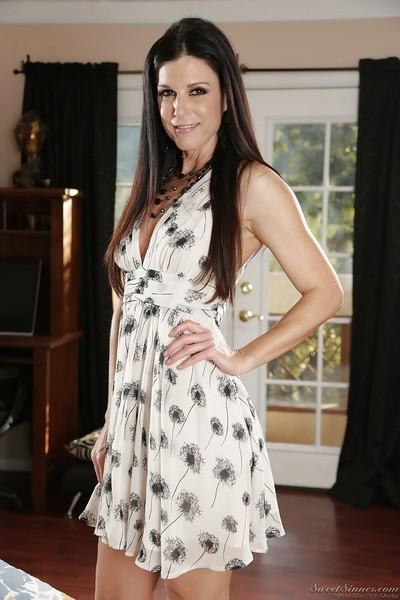 Leggy MILF pornstar India Summer flashing upskirt panties in high heels