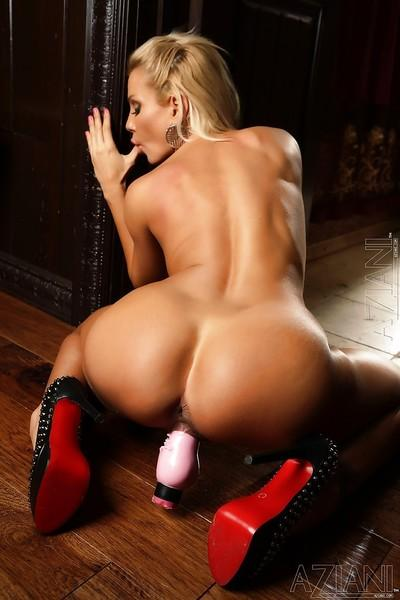 Beautiful blonde whore with tight holes undressing for us