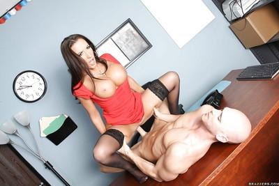 Big titted MILF wife Richelle Ryan stripped and fucked in the office