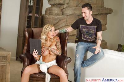 Big-tit girlfriend Payton West is being covered with thick sperm