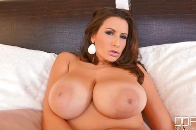 Tit model Sensual Jane plays with big all natural boobs while masturbating