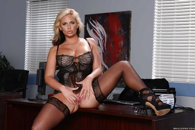 Outstanding blonde office MILF Phoenix Marie showing off her booty