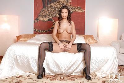Amazing European beauty Eve Angel is posing and masturbating