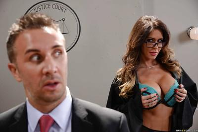 Big boobed glasses wearing judge Jessica Jaymes having big tits sucked on