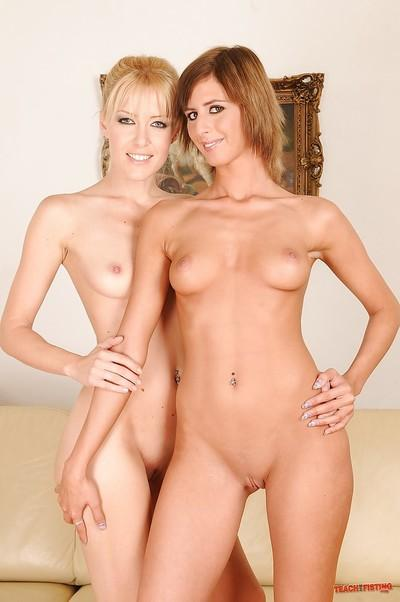 Two sensual lesbies Angel and Sophie are having fun with toys