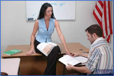 Sexy MILF teacher in glasses India Summer riding stiff cock in class