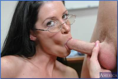 Sexy MILF teacher in glasses India Summer riding stiff cock in class
