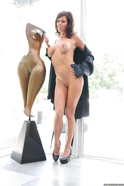MILF with long legs and big tits Veronica Avluv masturbating naked