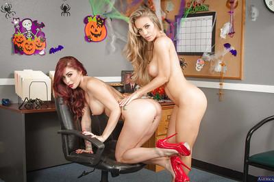 Lesbian milf Monique Alexander and Nicole Aniston fuck in office