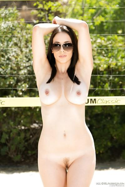 Sporty babe Jelena Jensen demonstrates her big boobies on cam