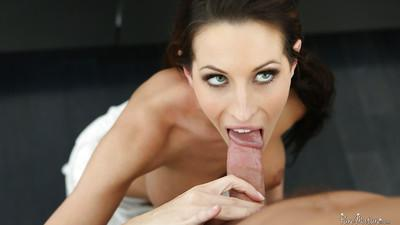 Slender brunette Kortney Kane is sucking this tasty long prick
