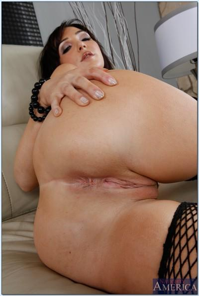 Hot MILF in stockings Diana Prince taking off her dress and lingerie