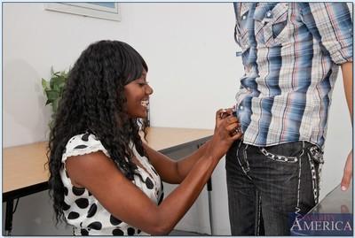 Big titted black MILF Nyomi Banxxx teaches a stud to fuck hardcore