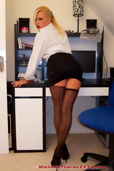 Amazing posing session with an extremely hot office lady Michelle Thorne