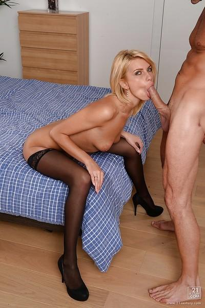 Hardcore blonde Lana Roberts is being fucked in her tight pussy