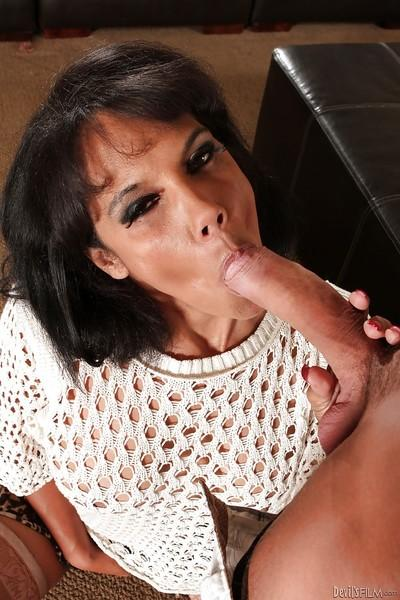 Slutty MILF gets caught sucking and fucking a big young cock