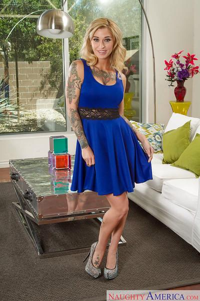 Tattooed milf wife Kleio Valentien takes off her blue dress to be naked
