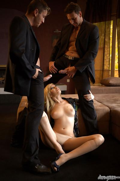 Ravishing blonde MILF Donna Bell gets blowbanged and double penetrated
