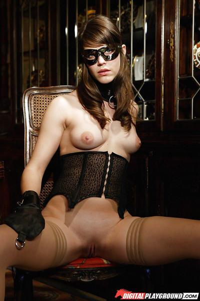Exotic fetish model Bobbi Starr looking hot in mask and pantyhose