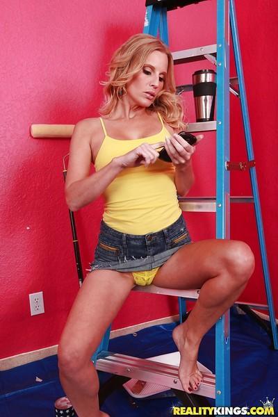 Blonde solo model Sovereign Skye flashing upskirt underwear