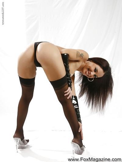 Latina sugar in stockings getting rid of her latex bra and panties