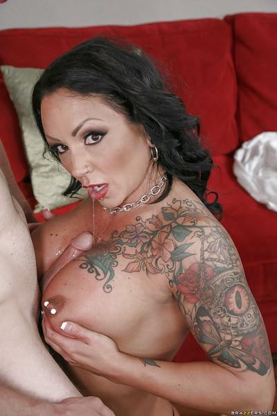 Tattooed MILF pornstar Ashton Blake tit fucking cock Gonzo style